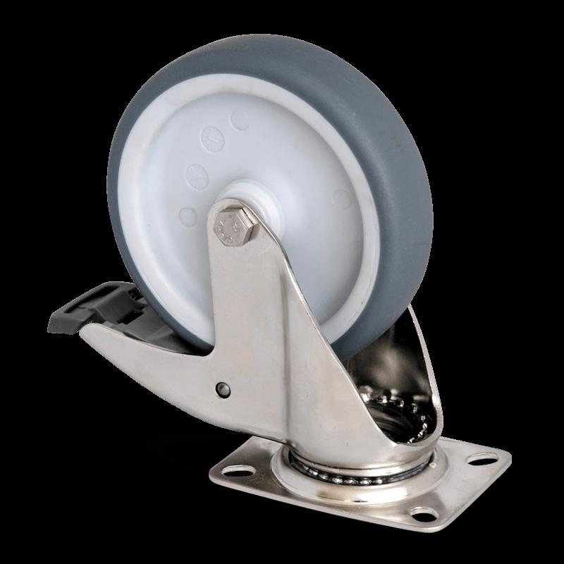 Swivel Castor With Brake Diam. 125 Mm – Stainless Steel
