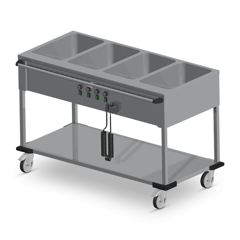 Bain-Marie Trolley 4 X 1/1 Gn Operation On The Long Side